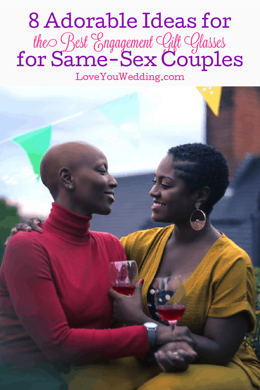 From cute to gorgeous to just plain funny, these lesbian and gay engagement gift glasses will be a huge hit with the couple. Check them out!