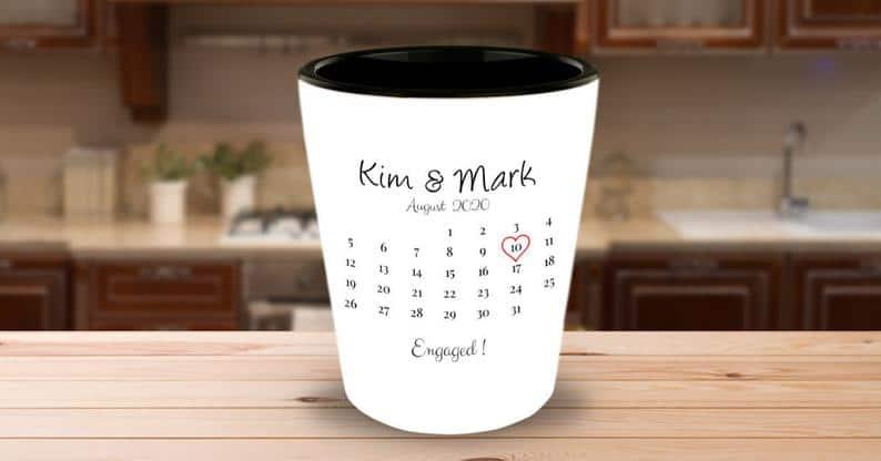 Personalized Engaged Shot Glass Engagement Gift Engagement   Etsy