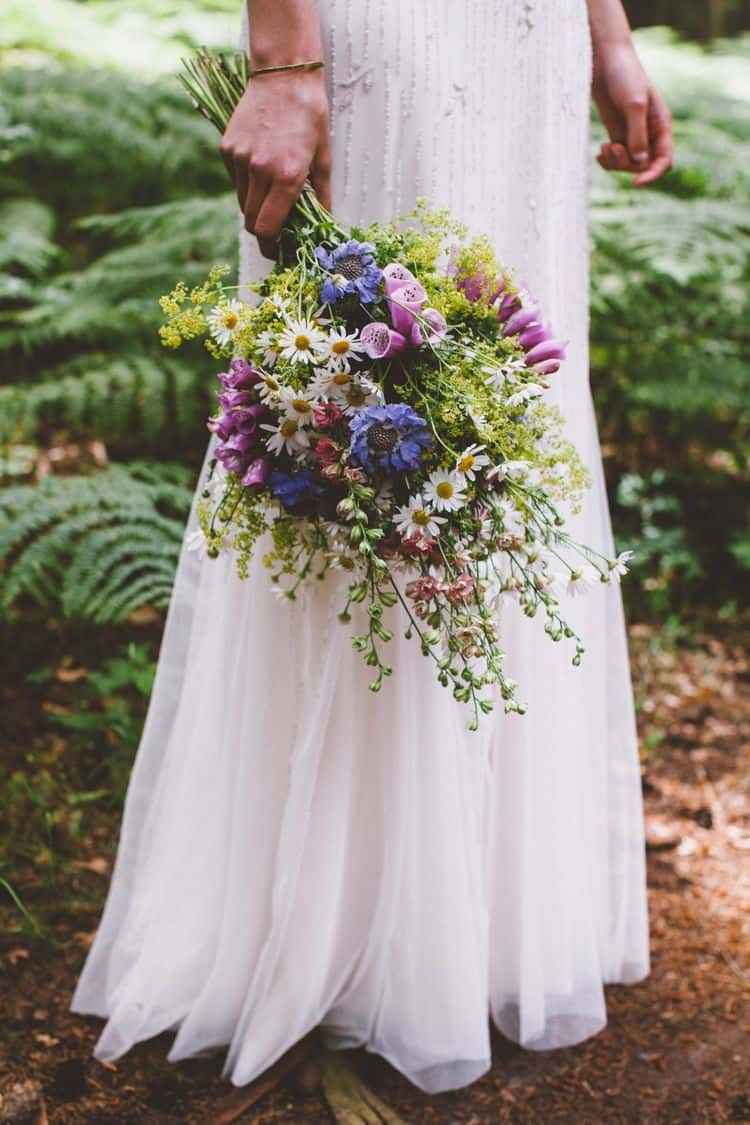 Daisy - white flowers with yellow center; Foxglove - purple flowers; Scabiosa - blue flowers; Goldenrod - yellow flowers;