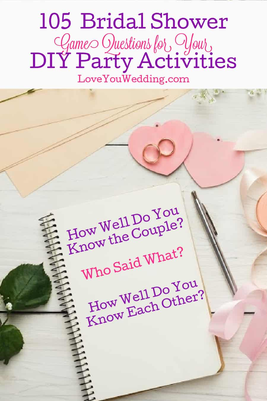 Looking for some fun bridal shower game questions? Check out 105 clever ideas for four different