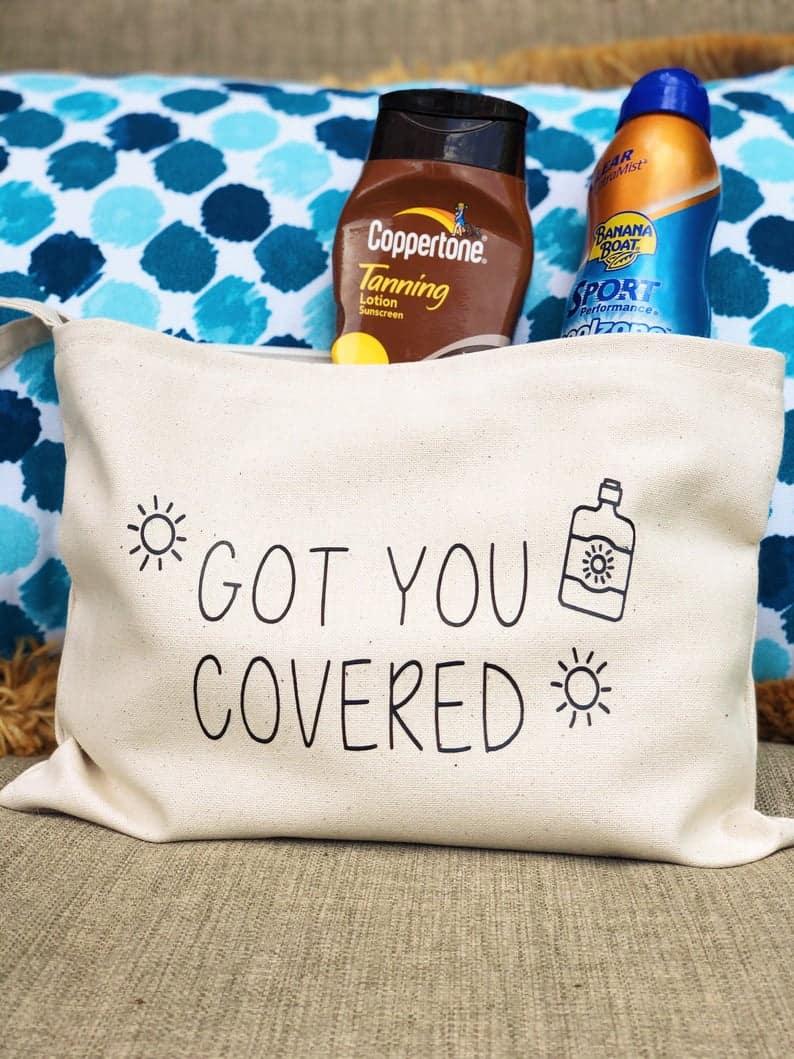 Custom sunscreen bag//canvas tote//beach bag//mini beach | Etsy