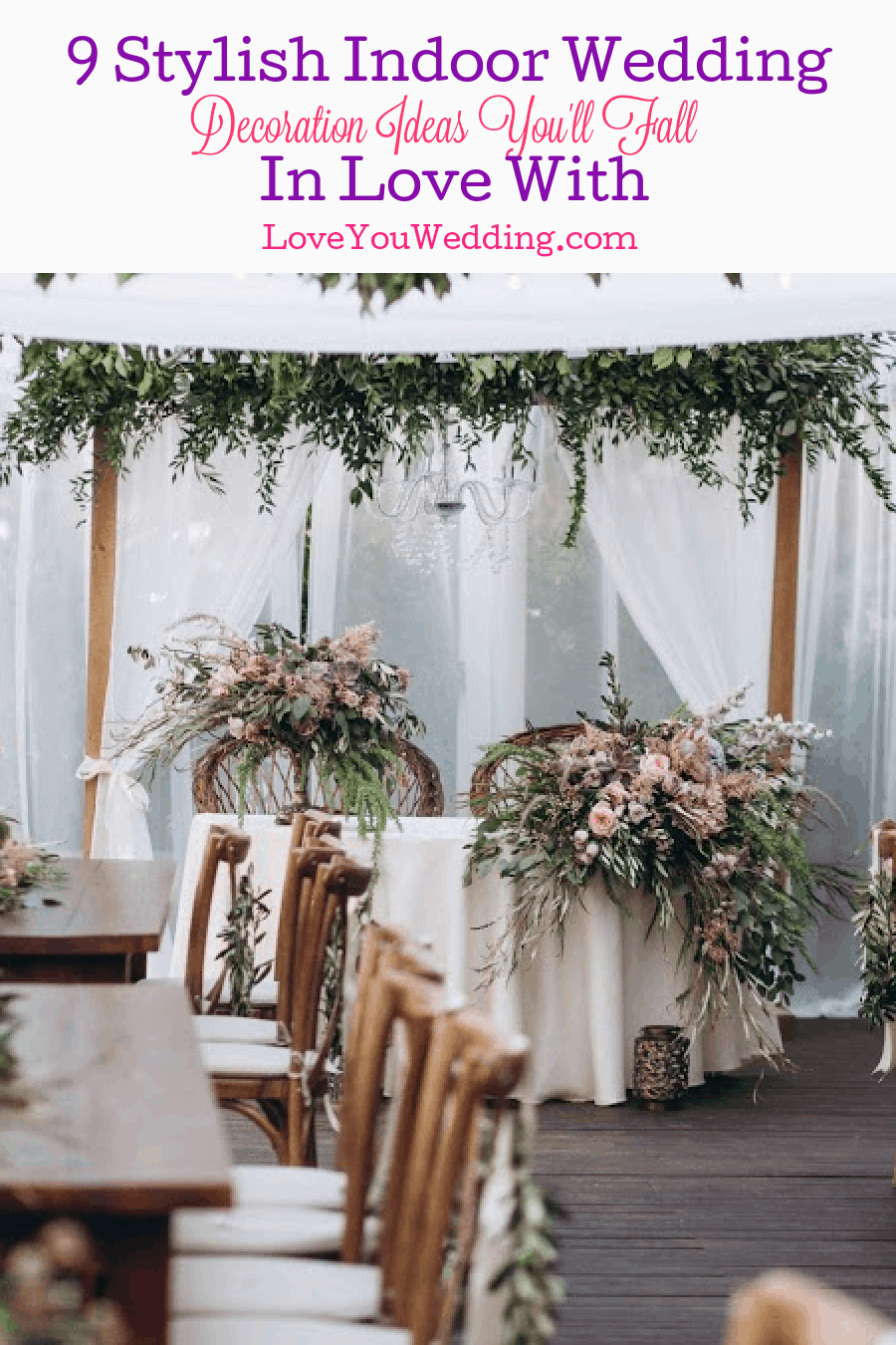 9 most creative, attractive and amazing indoor wedding decoration ideas that will certainly wow you. Get them and see the magic!