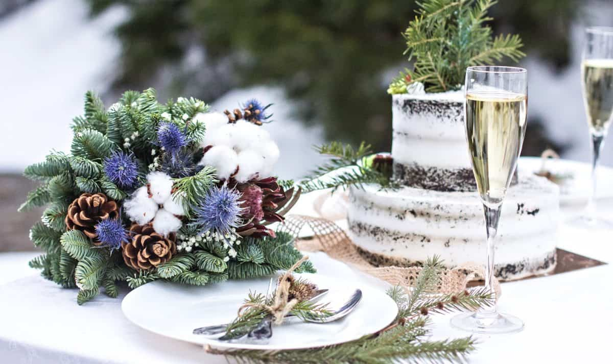 Outdoor winter wedding theme