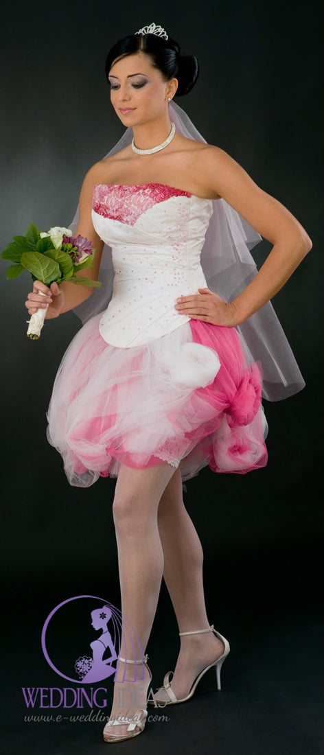 Bride dress have short white and pink with sequins on the bust and bodice. Tulle white and pink skirt as well.
