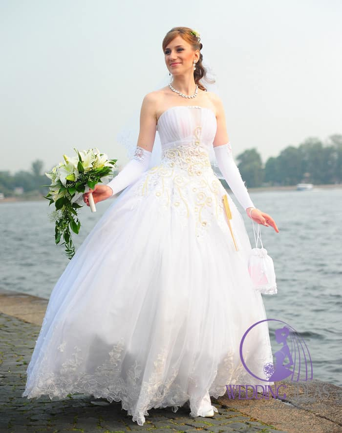 Ball gown with straight necklace and pink design on the bodice and top of skirt.