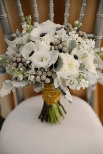 Anemone - white flowers with black means; Dusty miller flat - silver leaves; Brunia - silver balls in bouquet