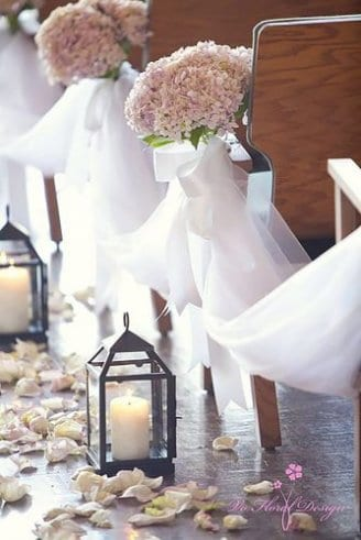 walkway decorated candles flowers white tulle