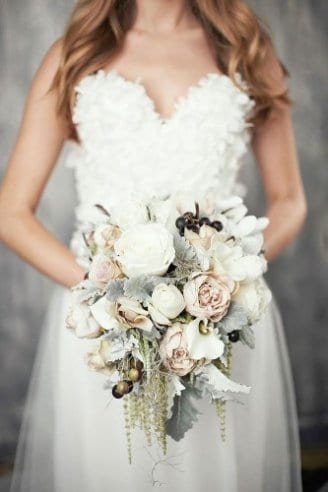 Peony - salmon flowers; Dusty miller flat - silver leaves; Lisianthus - white flowers with yellow middle