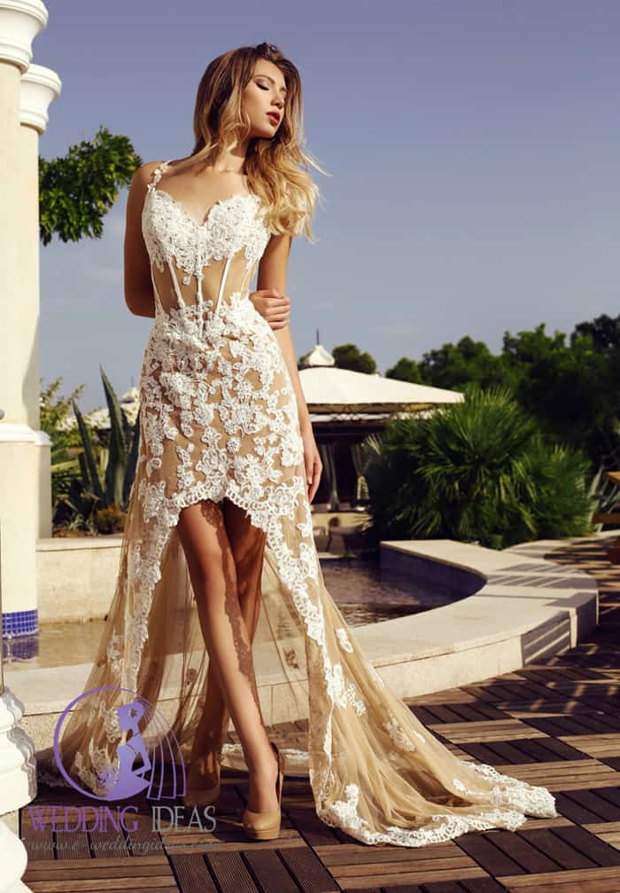 White and nude hi-low wedding dress, sweetheart necklace with spaghetti straps.