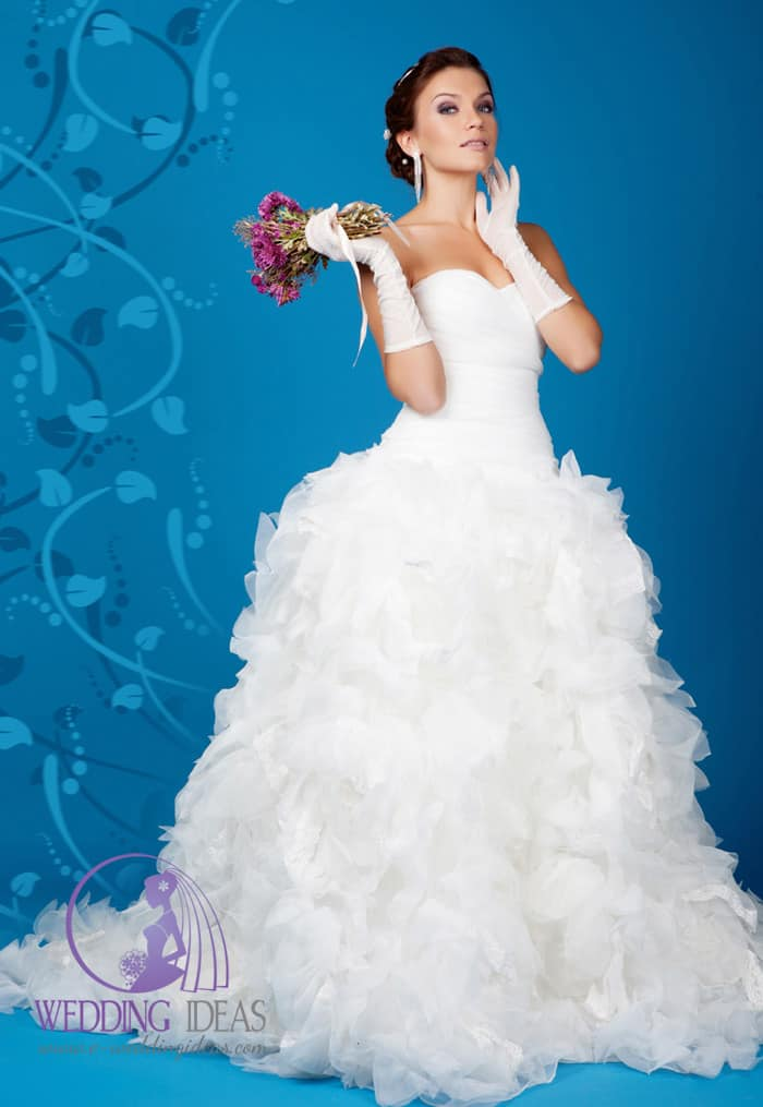 Sweetheart necklace and tulle skirt, buttons on the back of gown.