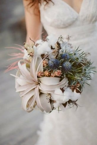 Decorative thistle - poppy fruit in the bouquet; Poppy fruit - flower in the bouquet; Flower Otton - white down at the bottom of the bouquet;