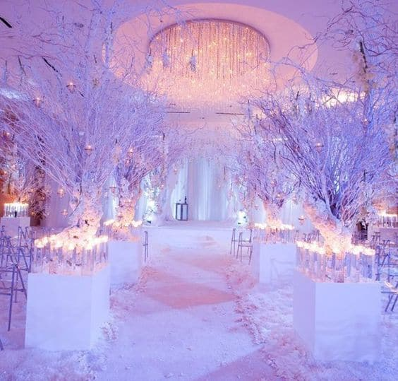 winter wedding with snow
