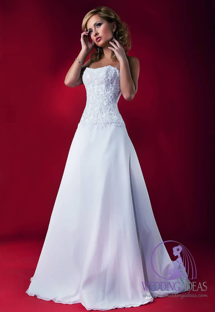 Light blue A-line gown with straight necklace. Lace design on the bodice and smooth satin skirt