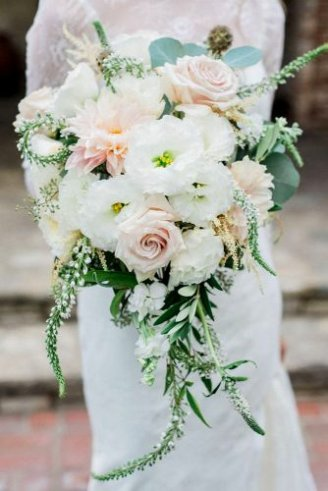 Ruscus leaves - ornament leaves;Roses - light pink flowers; Peony - white flowers with yellow means; Chrysanthemum - bright pink flowers with orange center; Eucalyptus - silver leaves; Sage - white dangling flowers