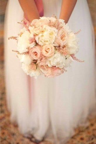 Roses - pink flowers; Peony - white flowers;
