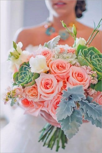 Roses - pink flowers; Dusty miller flat - silvery leaves; Lisianthus - white flowers; Succulents - large green flowers