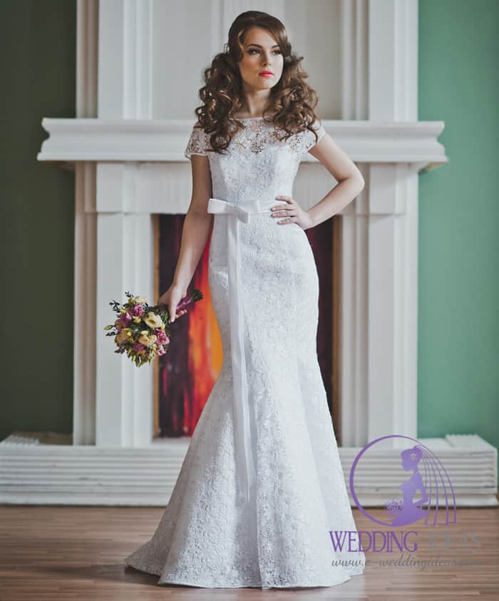 Mermaid lace gown with cowl necklace and short lace sleeve