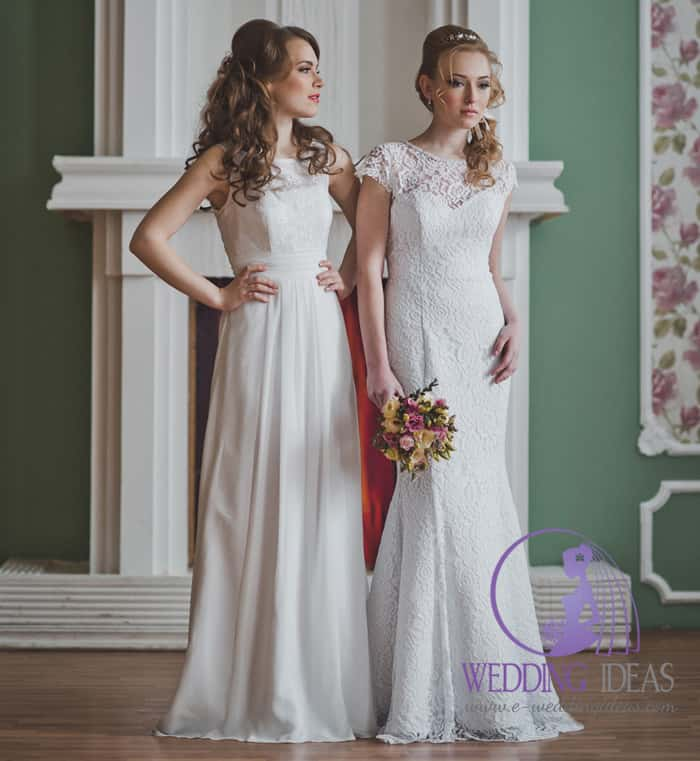 Two beautiful Brides in two different Wedding Dresses
