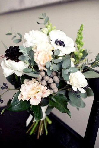 Brunia - silver beads in bouquet Anemone - white flowers with black middle Peony - large white flowers Eucalyptus - silvery leaves