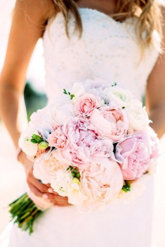 Peony - large white and pink flowers;