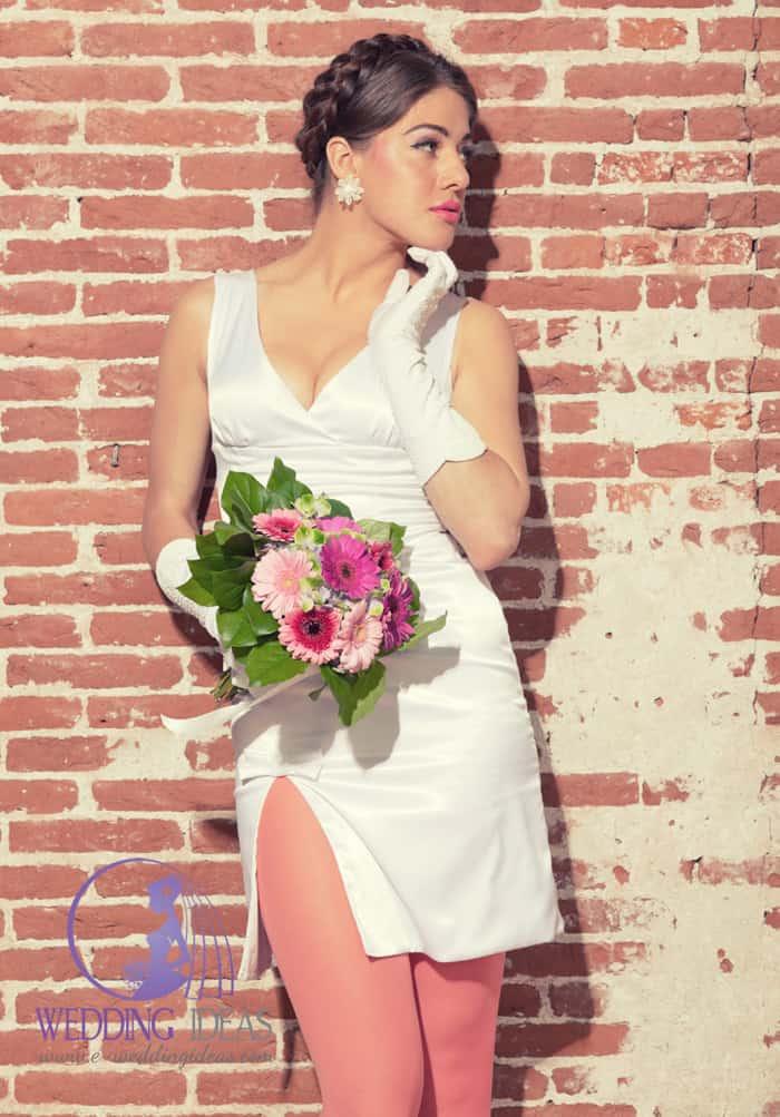 Short satin bride dress with V-neck