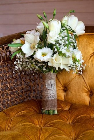 A lovely bouquet comprised of green and white flowers