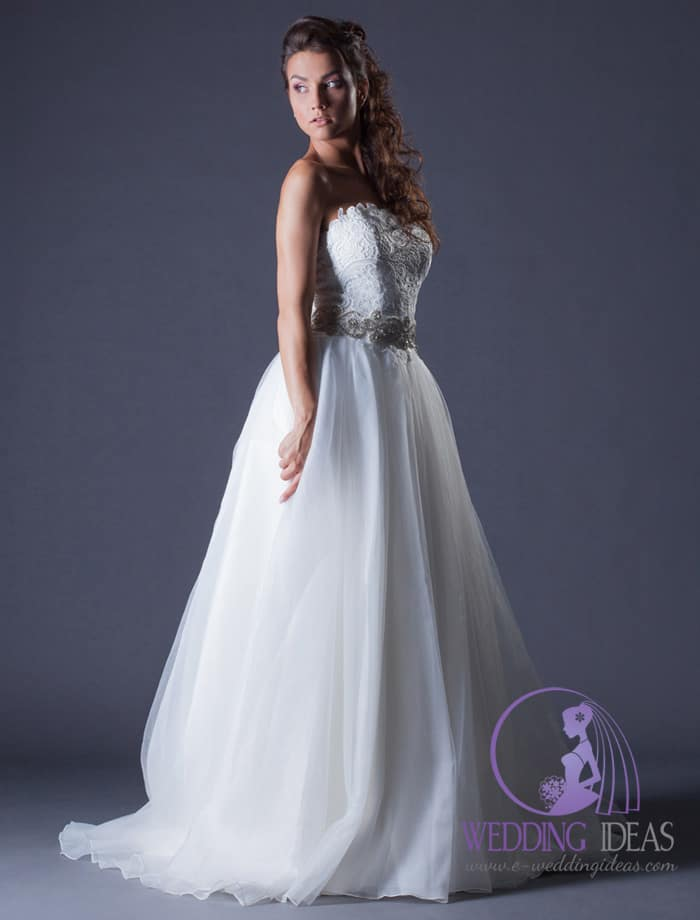 Ball wedding dress with straight necklace.