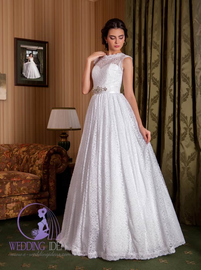 Lace A-line wedding dress with high neck
