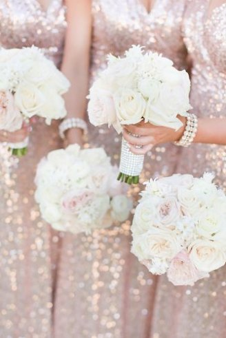 A lovely wedding bouquet made of white flowers only
