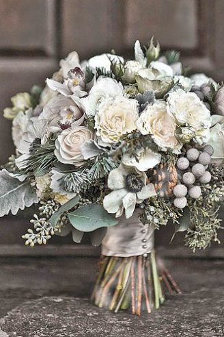 Brunia - silver beads in bouquet; Dusty miller flat - silver leafs; Anemone - white flowers with black center; Roses - white flowers; Cones - conifers