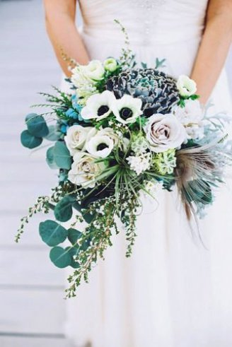 Anemone - white flowers with black center; Roses - pink flowers; Eucalyptus - silvery leaves; Cabbage decorative - green and purple part of the bouquet in the middle
