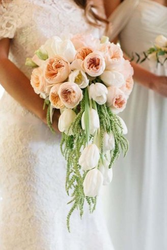 Tulips - white hanging flowers; Lisianthus - white flowers with yellow center; Peony - pink and orange flowers;