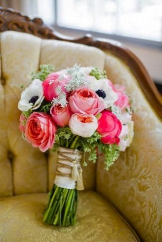 colorful bride bouquet with roses