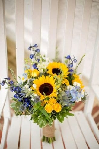 sunflowers and blue flowers bouquet