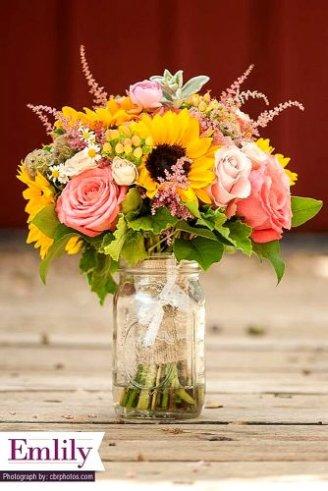 white and pink flowers, sunflowers and green leaves