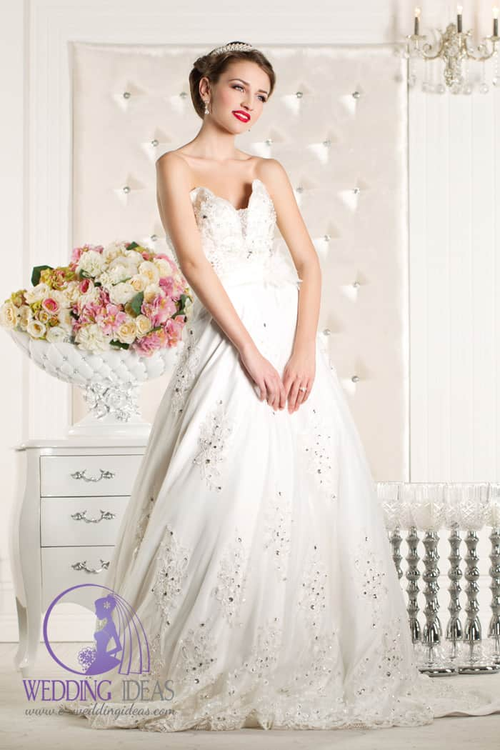 Strapless lace wedding dress with crystals and sweetheart necklace, floral tulle belt in the waist