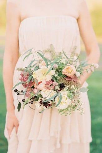 Roses - white flowers; Astrantia - light pink flower