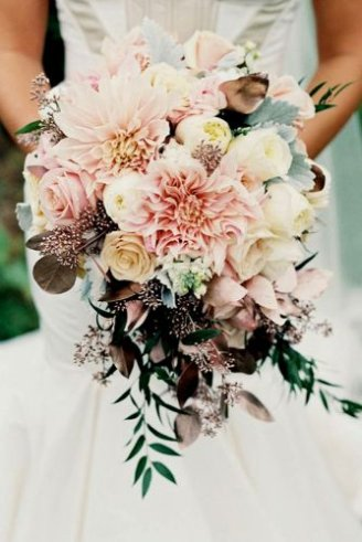 Ruscus leaves - leaves; Dahlia - large bright pink flowers; Roses - bright yellow and bright pink flowers, peony - white and yellow flowers; Dusty miller flat - silvery leaves