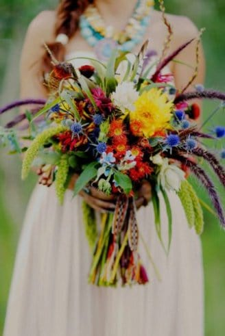 bouquet with different types of bright flowers