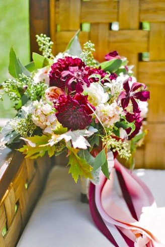 Dhalia - large cherry flowers; Hydrangea - white small flowers