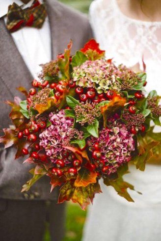 Hydrangea - pink flowers; Mountain Ash - orange little balls; Maple - maple leaves for decorations;