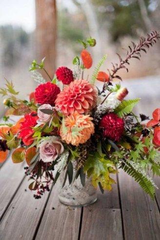 Roses - bright flowers Dhalia - cherry and orange flowers;