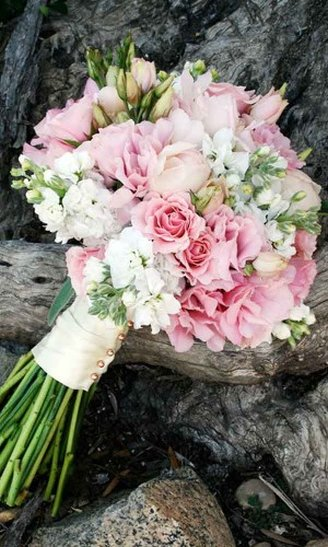 Lisianthus - white flowers; Roses - light pink flowers; Peony - pink flowers