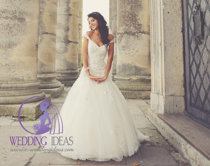 Off-shoulder necklace and tulle skirt with train. Lace elements on the bodice. Delicate jewelry and makeup.
