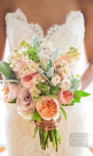 large round pink and white and blue and green leafy flowers and green flower buds