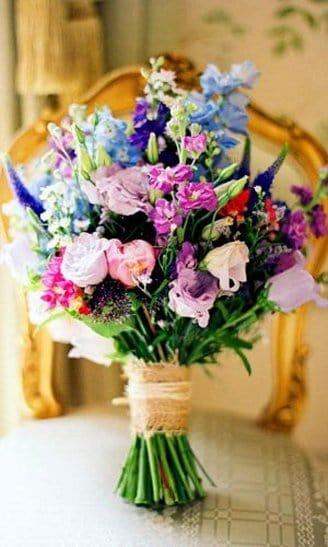 Lisianthus - white, violet flowers