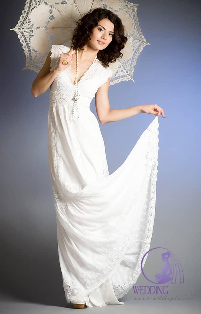 V-neck elegant lace bride dress.