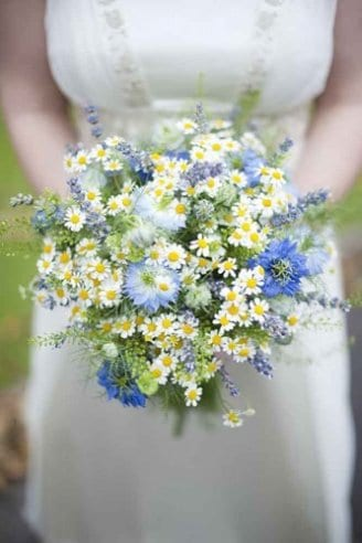 small round white, yellow, blue and green flowers