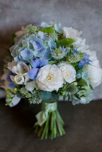 Freesia - white flowers with green buds; Peony - large white flowers; Hydrangea - blue flowers