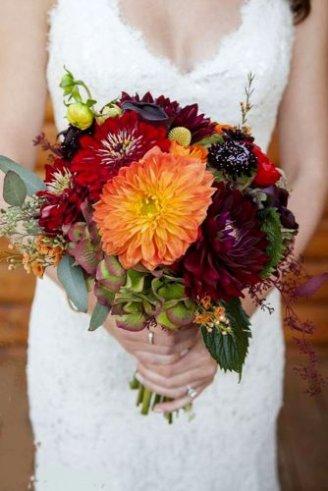 Dhalia - cherry and orange flowers; Hydrangea - green-violet flowers